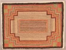 Antique Geometric Design Hooked Rug