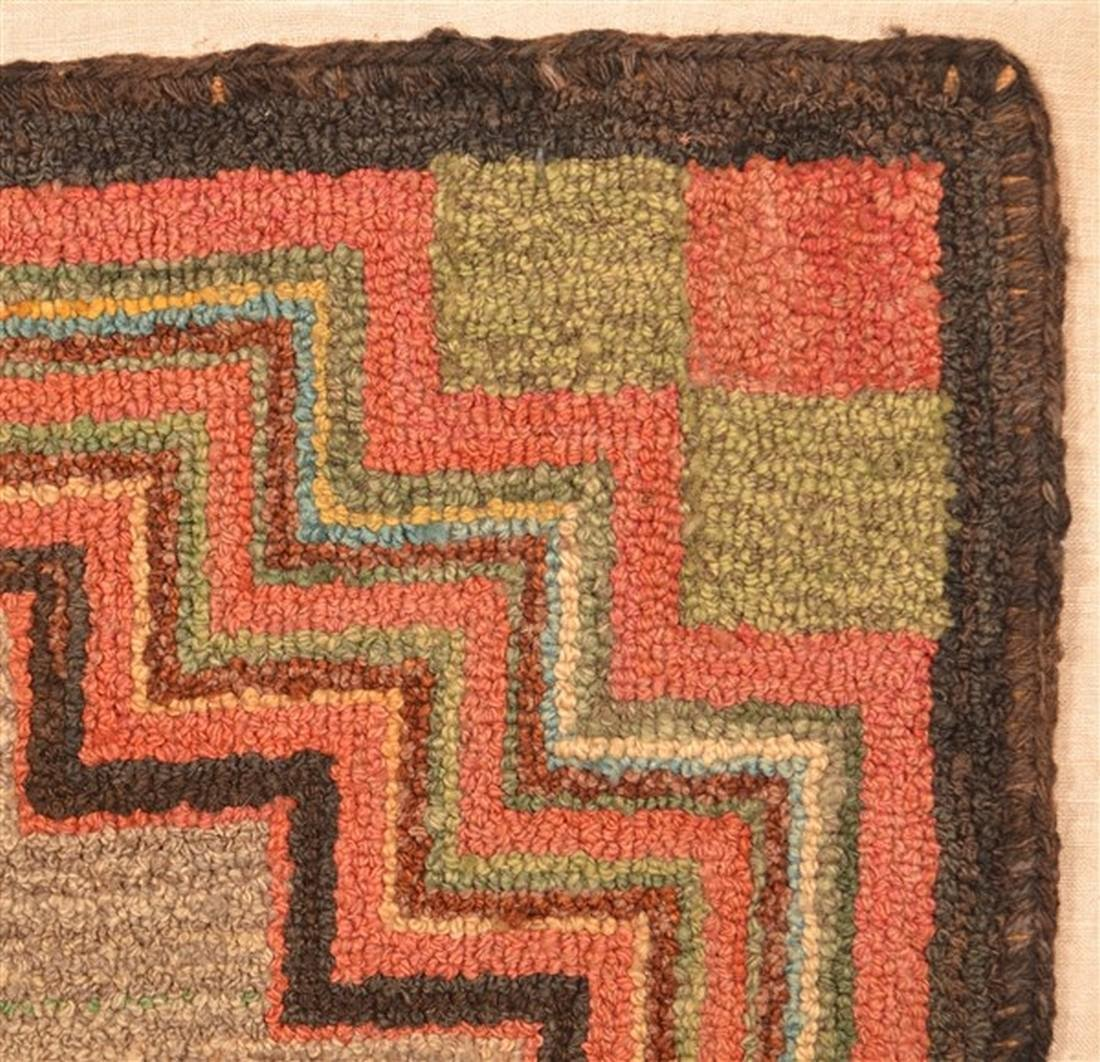 Antique Geometric Design Hooked Rug. - 2
