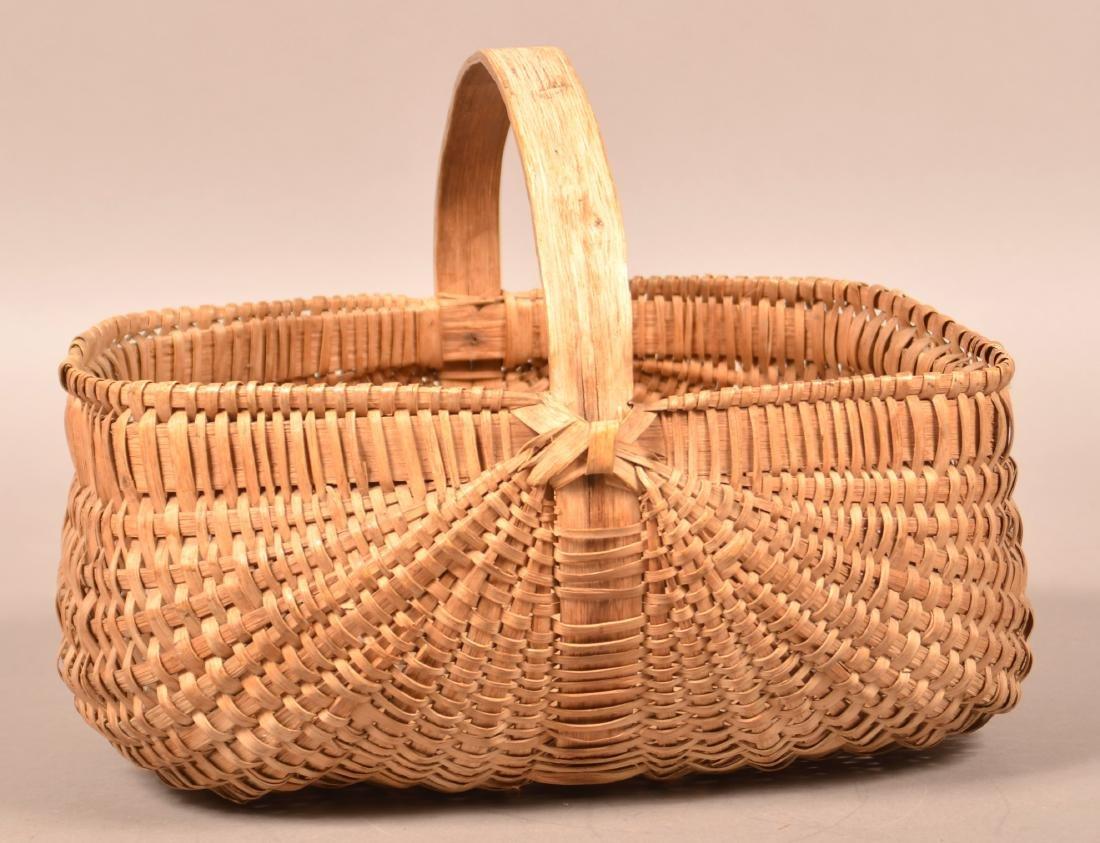 Rectangular Woven Oak Split Market Basket.