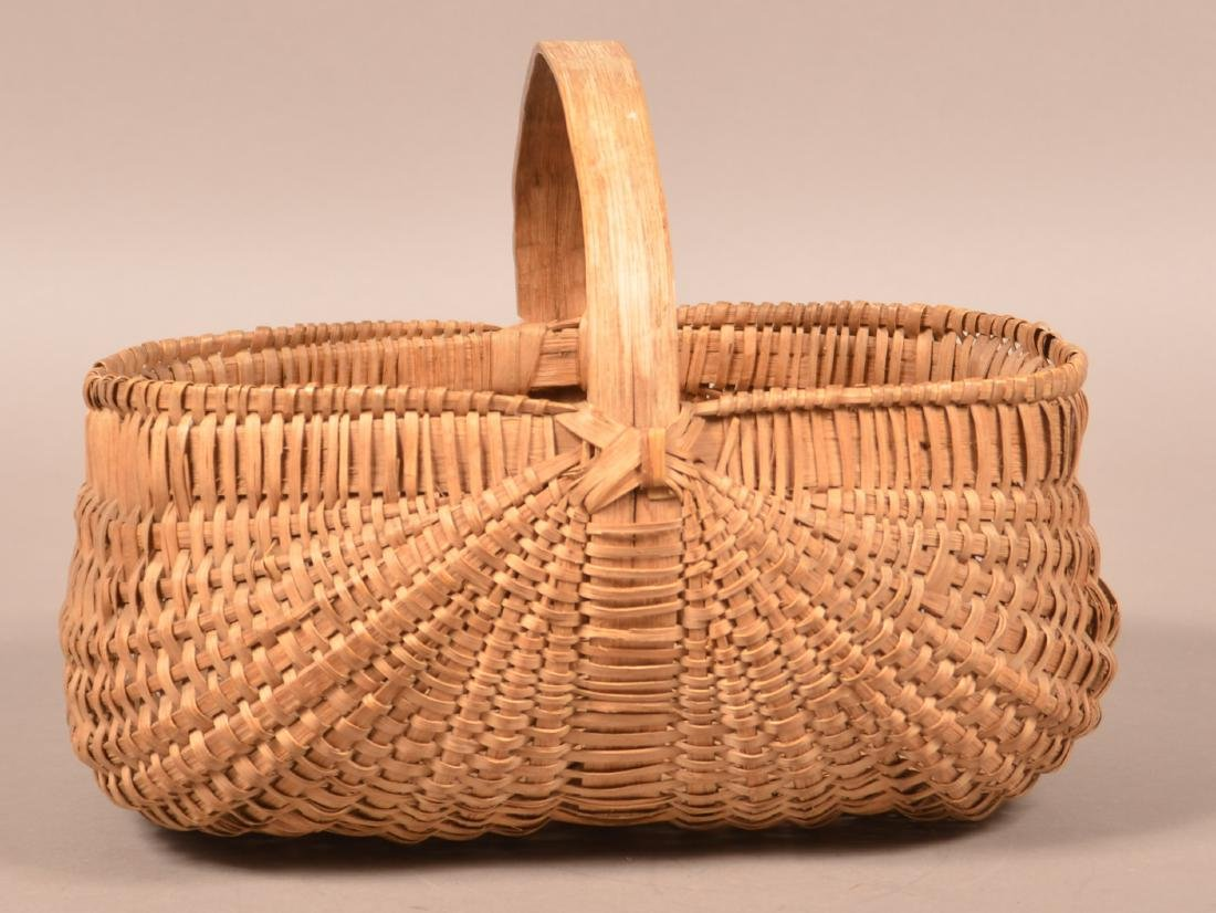 Rectangular Woven Oak Split Market Basket. - 2