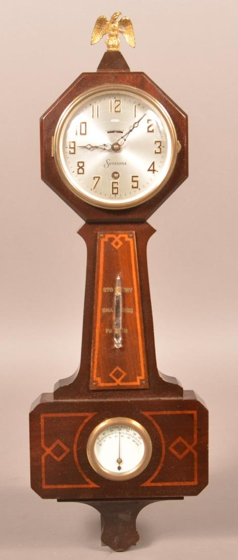 Antique Sessions Inlaid Mahogany Banjo Clock.
