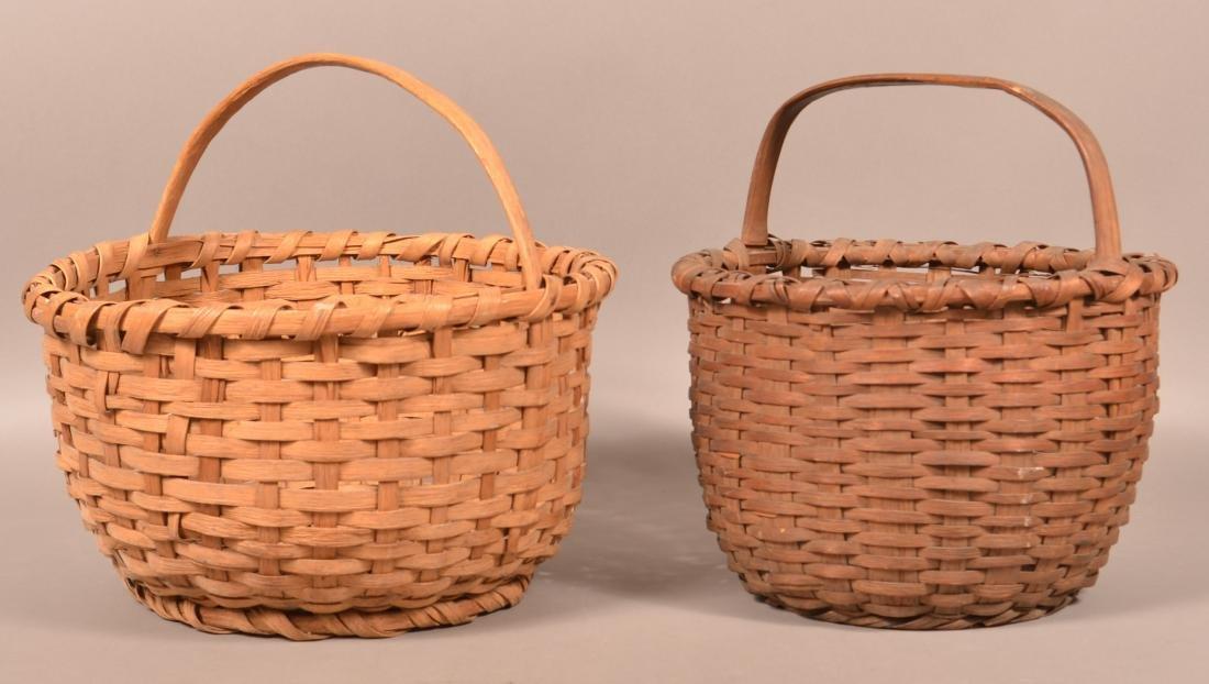 2 19th Century Woven Oak Splint Field Baskets.