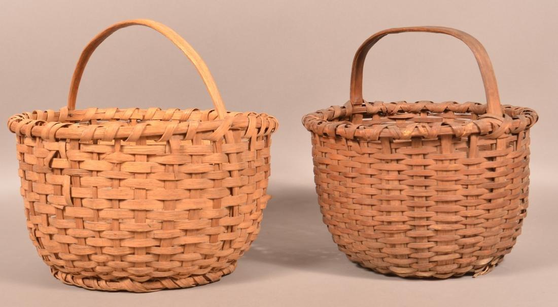 2 19th Century Woven Oak Splint Field Baskets. - 2