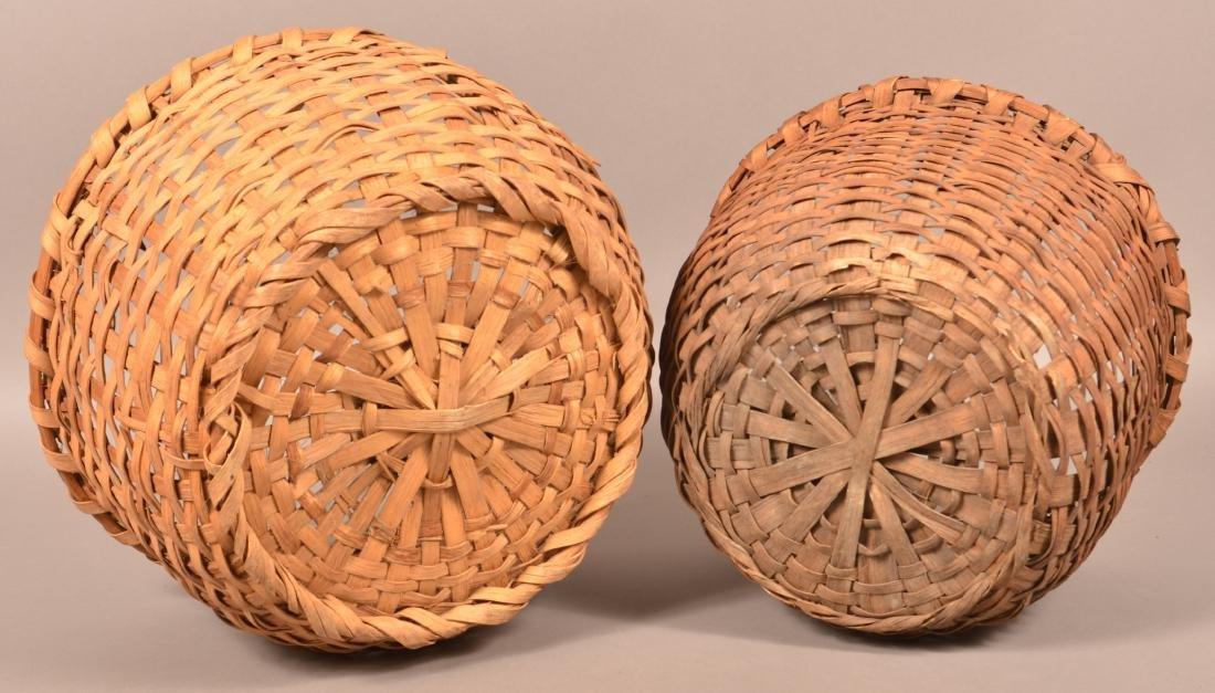 2 19th Century Woven Oak Splint Field Baskets. - 3