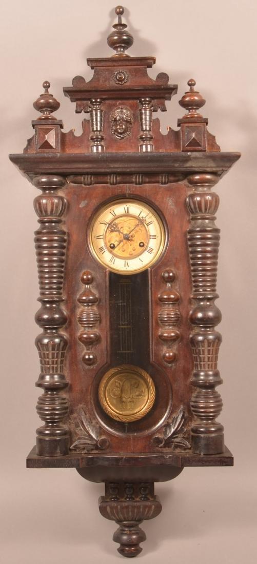 Unsigned Victorian Mahogany Wall Clock.