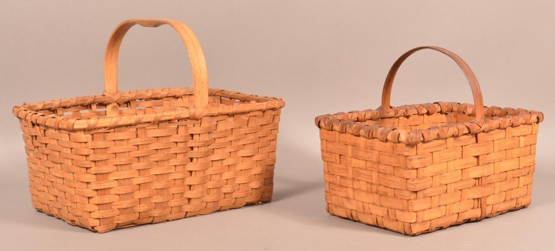 Two Rectangular Split Market/Gathering Baskets.