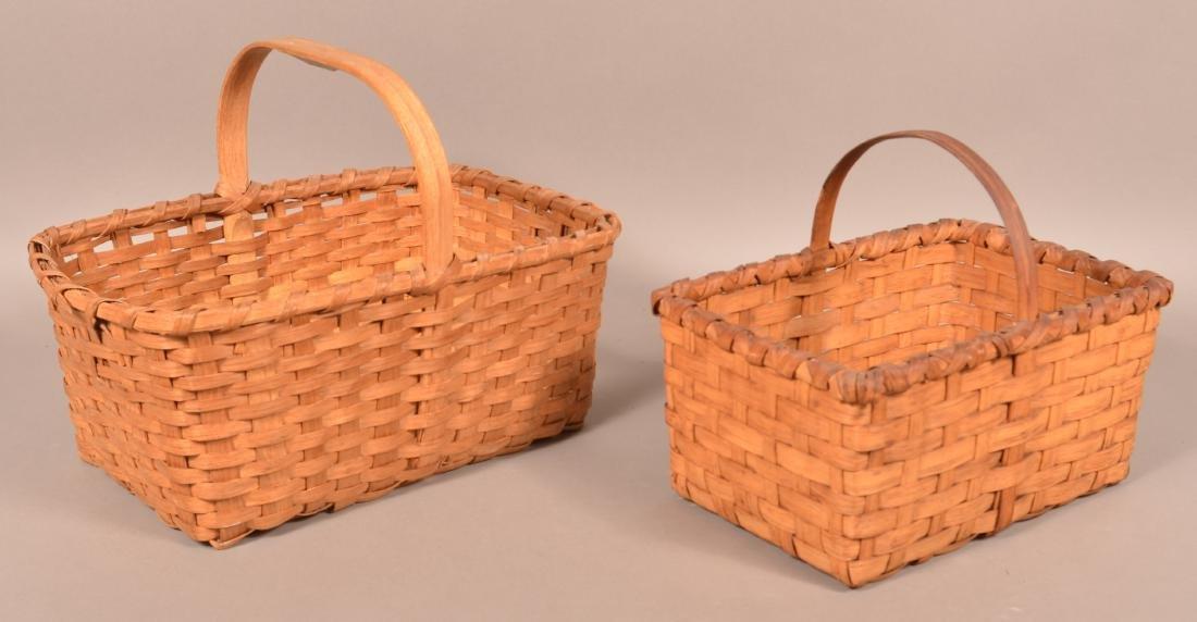 Two Rectangular Split Market/Gathering Baskets. - 2