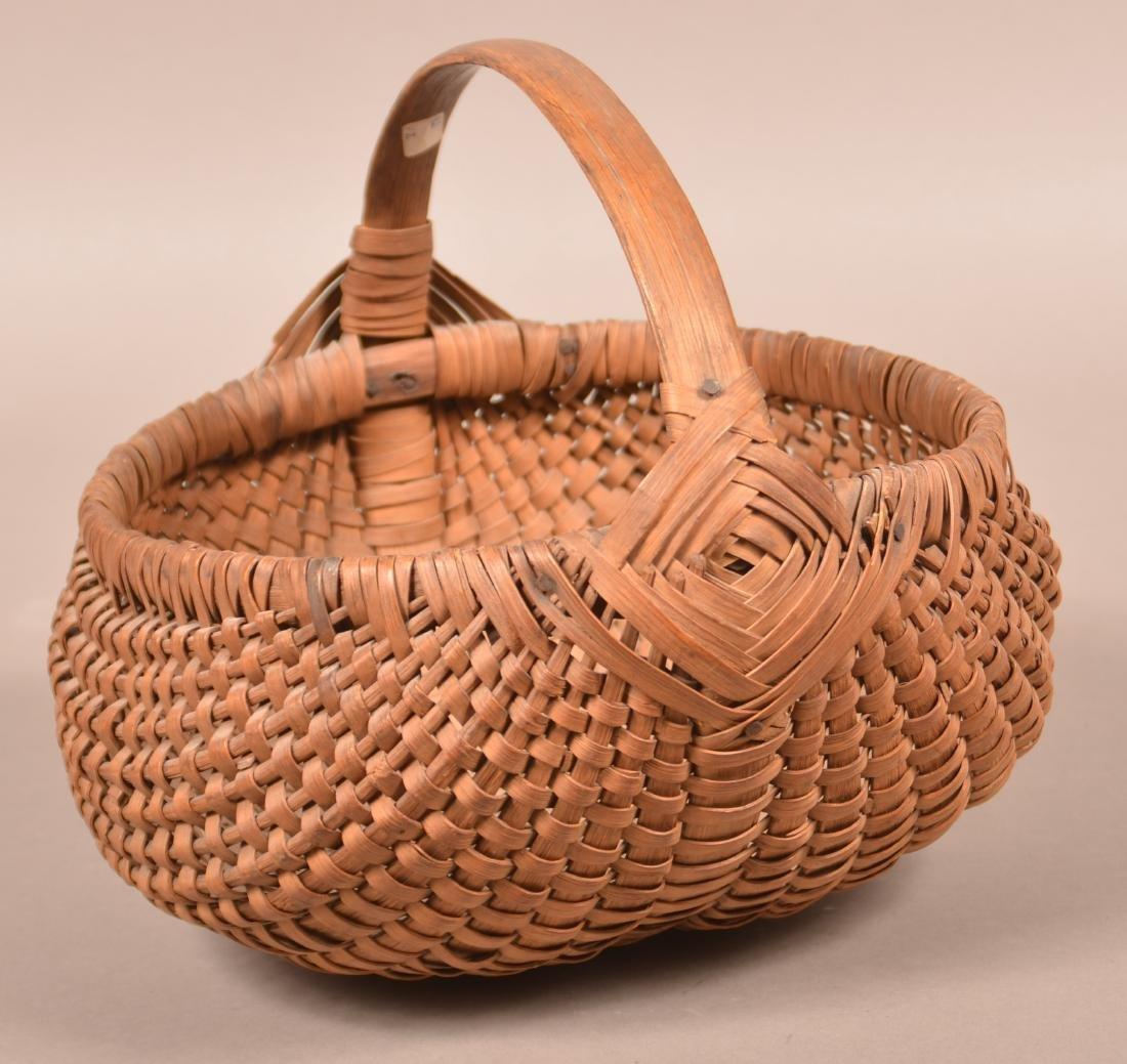 Antique Woven Oak Splint Market Basket. - 2