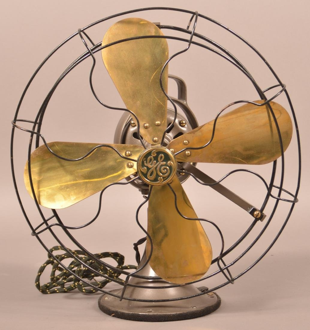 Early 20th Century GE Brass Blade Fan.