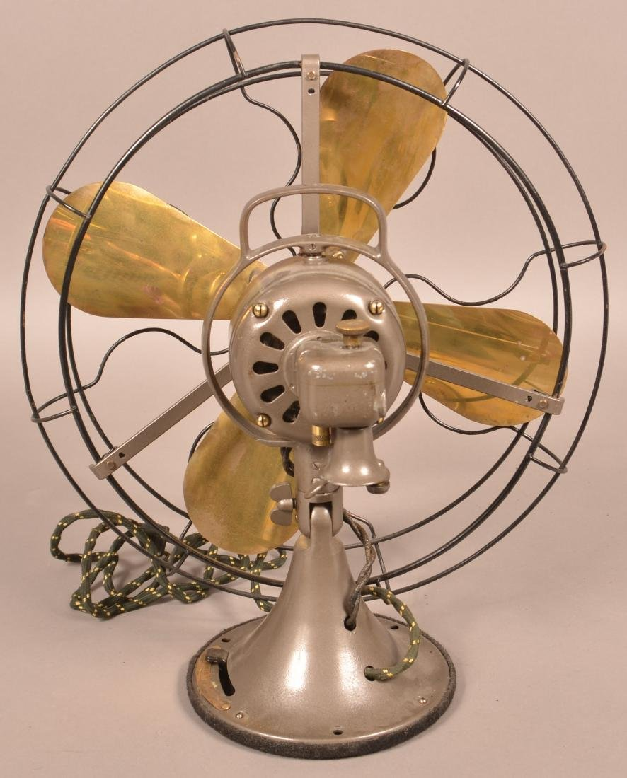 Early 20th Century GE Brass Blade Fan. - 2