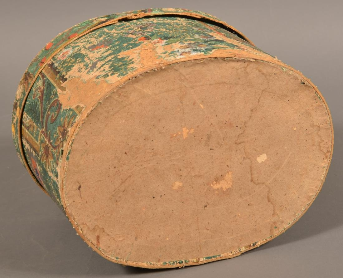 Two 19th Century Wallpaper Covered Boxes. - 10