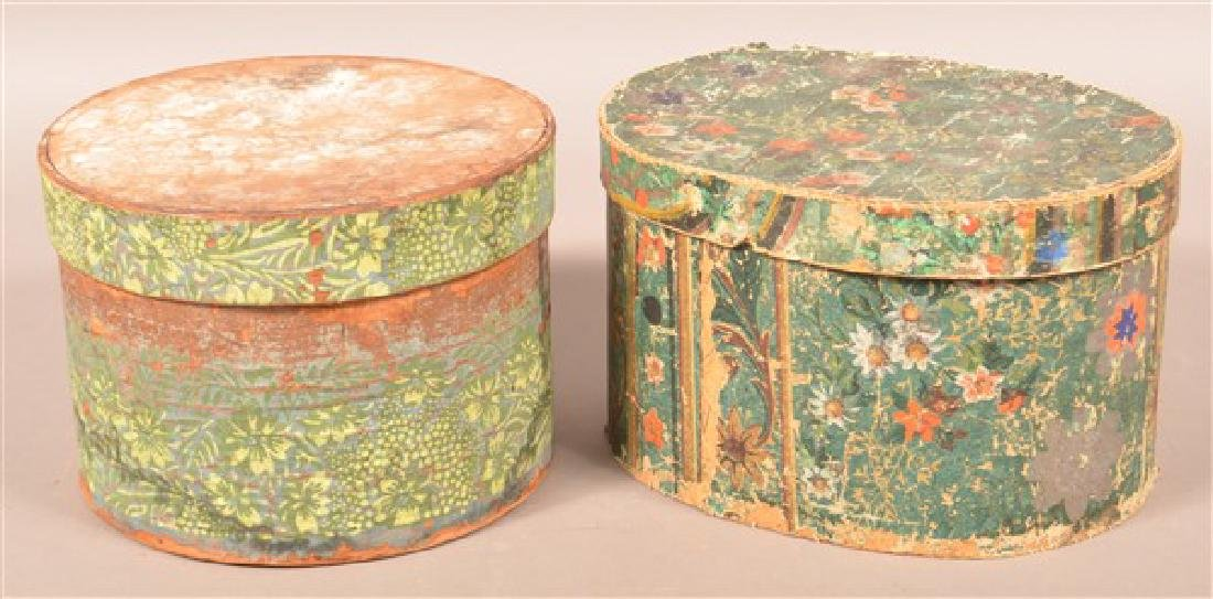Two 19th Century Wallpaper Covered Boxes.