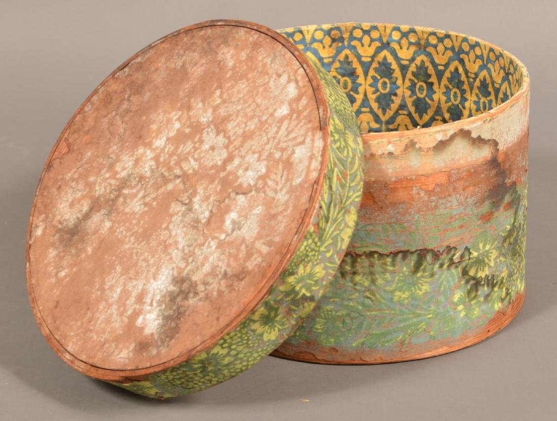 Two 19th Century Wallpaper Covered Boxes. - 5