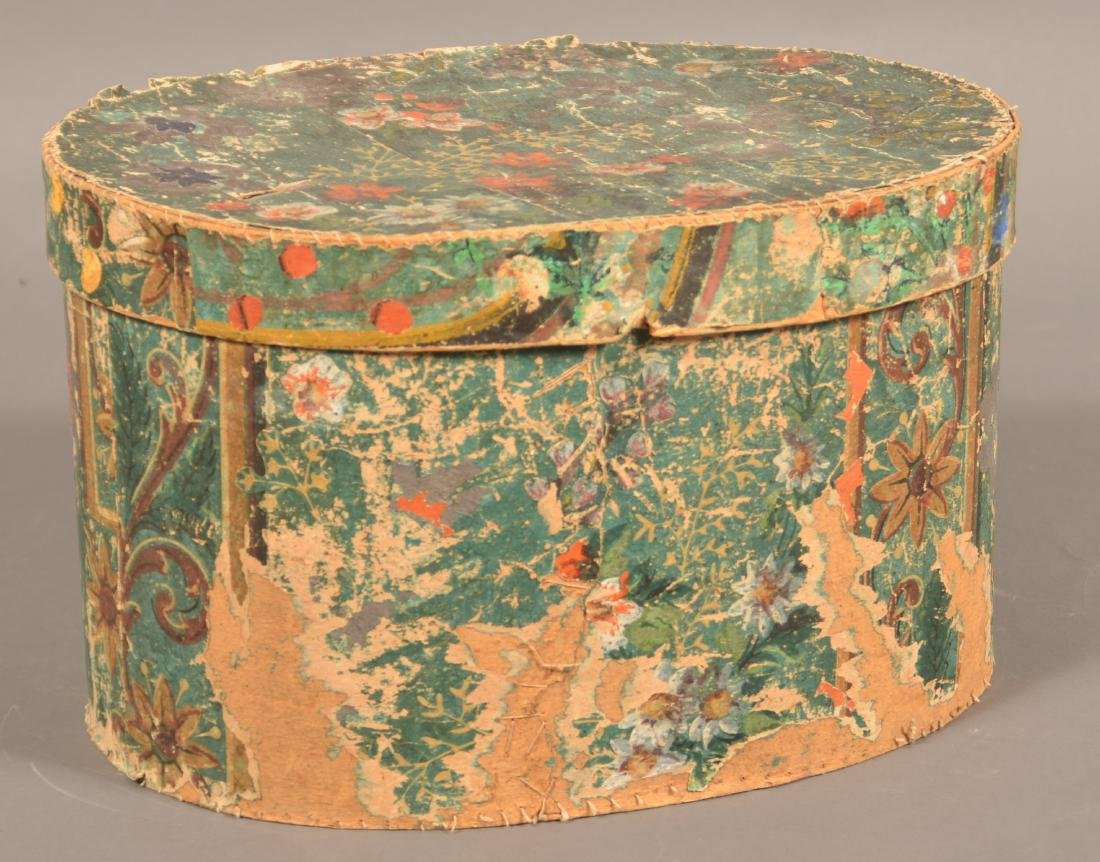 Two 19th Century Wallpaper Covered Boxes. - 6