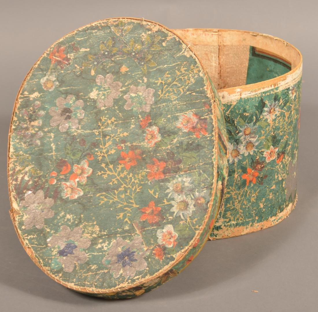 Two 19th Century Wallpaper Covered Boxes. - 7