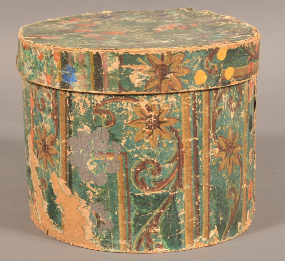 Two 19th Century Wallpaper Covered Boxes. - 8