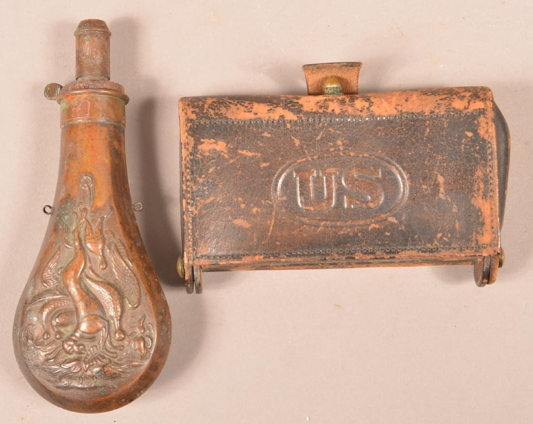 U.S. Cartridge Box and a Copper Powder Flask.