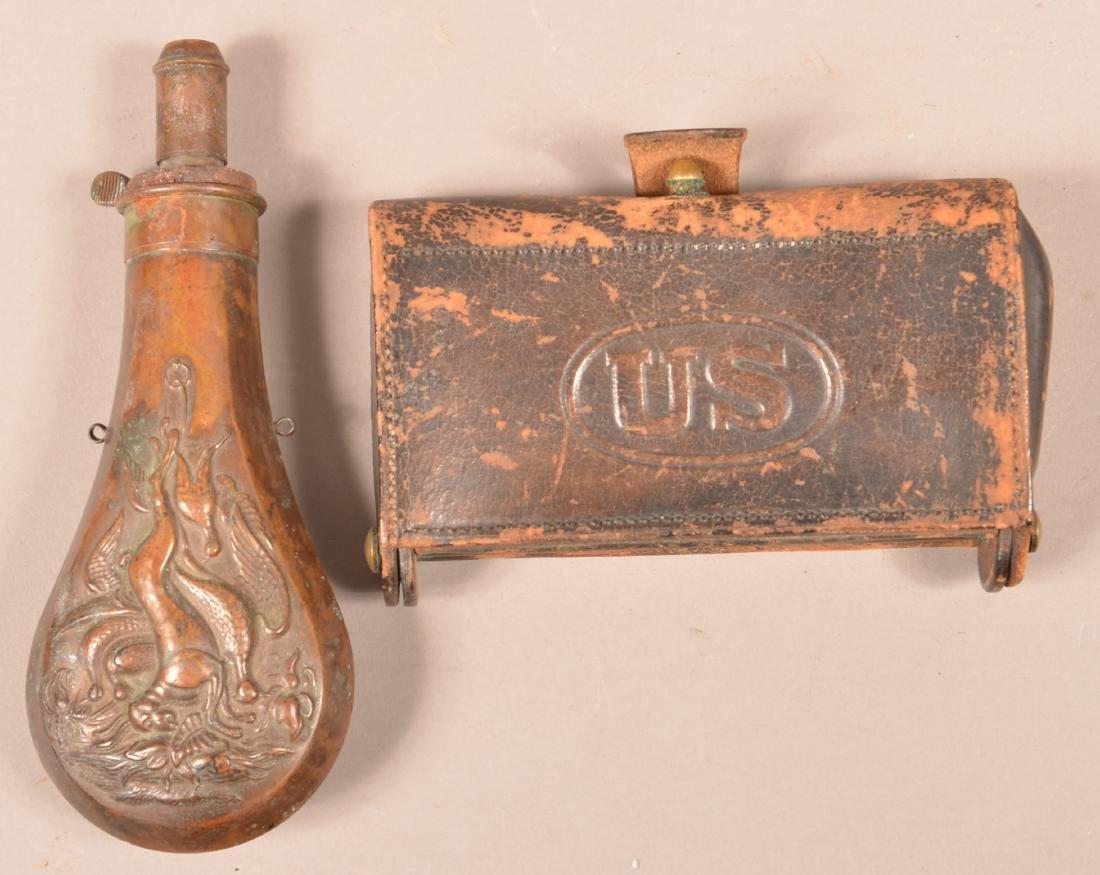 U.S. Cartridge Box and a Copper Powder Flask.