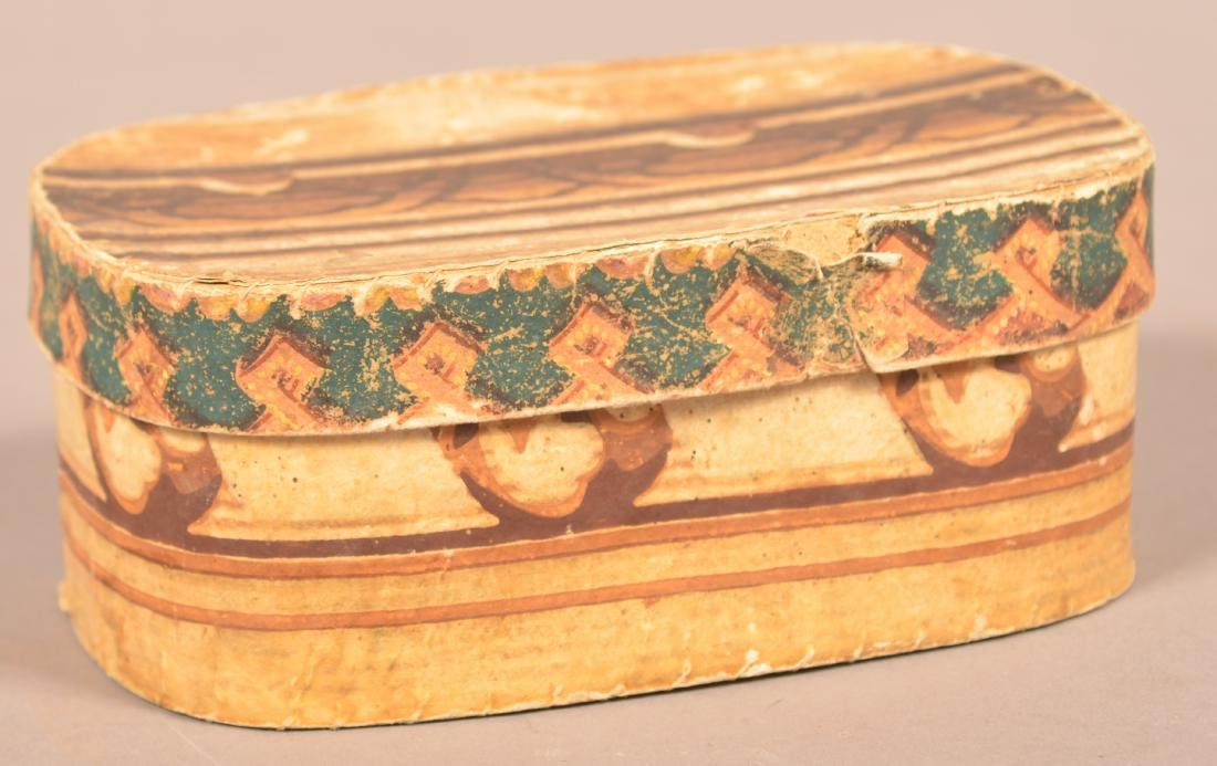 19th Century Oval Wallpaper Covered Box.