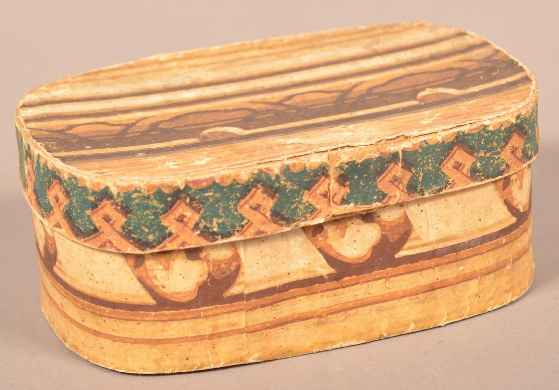 19th Century Oval Wallpaper Covered Box. - 4