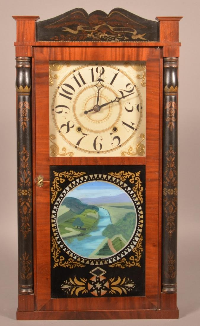Ephraim Downs Pillar and Splat Clock.