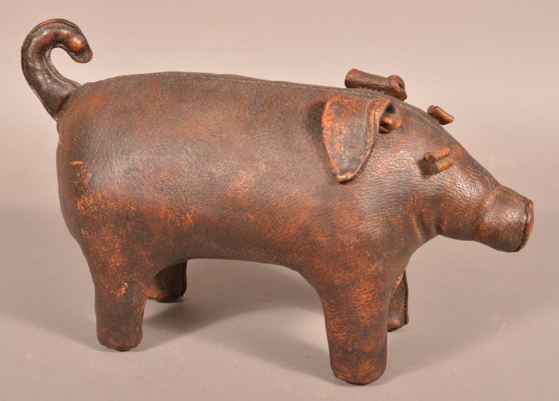 Abercrombie & Fitch Leather Pig Footstool.