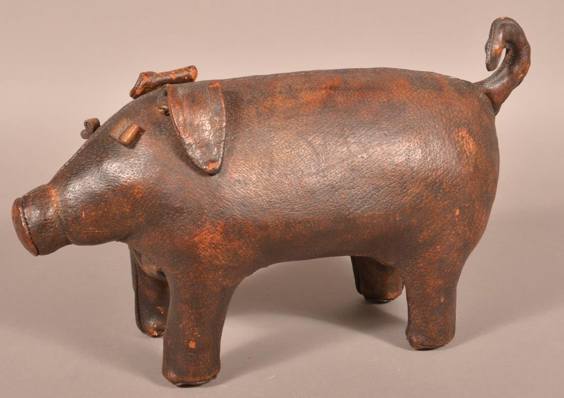 Abercrombie & Fitch Leather Pig Footstool. - 2