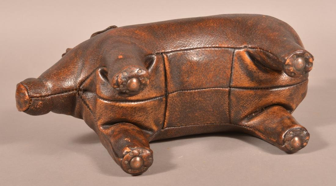 Abercrombie & Fitch Leather Pig Footstool. - 3