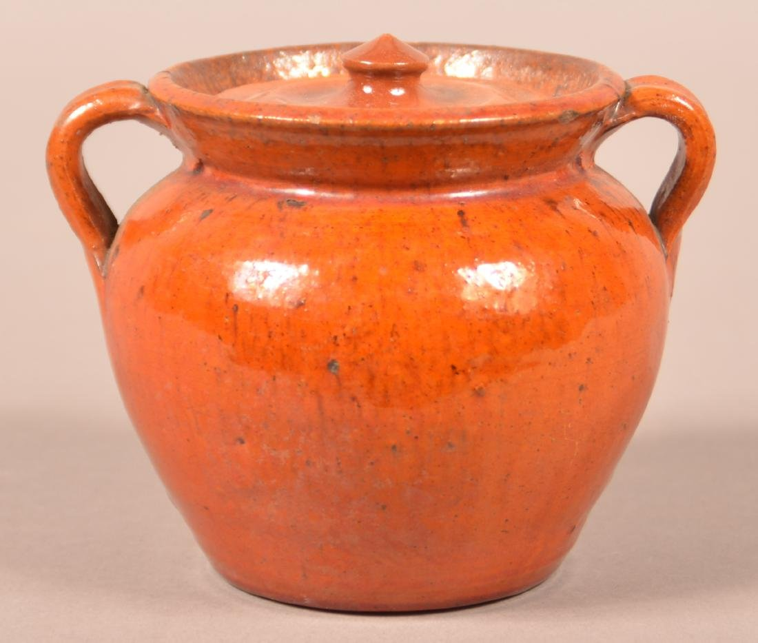 Antique Glazed Redware Covered Sugar Bowl.