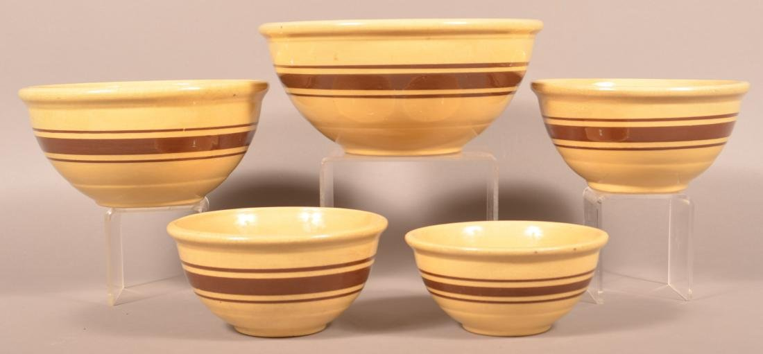 Set of Five Graduated Yellowware Mixing Bowls.