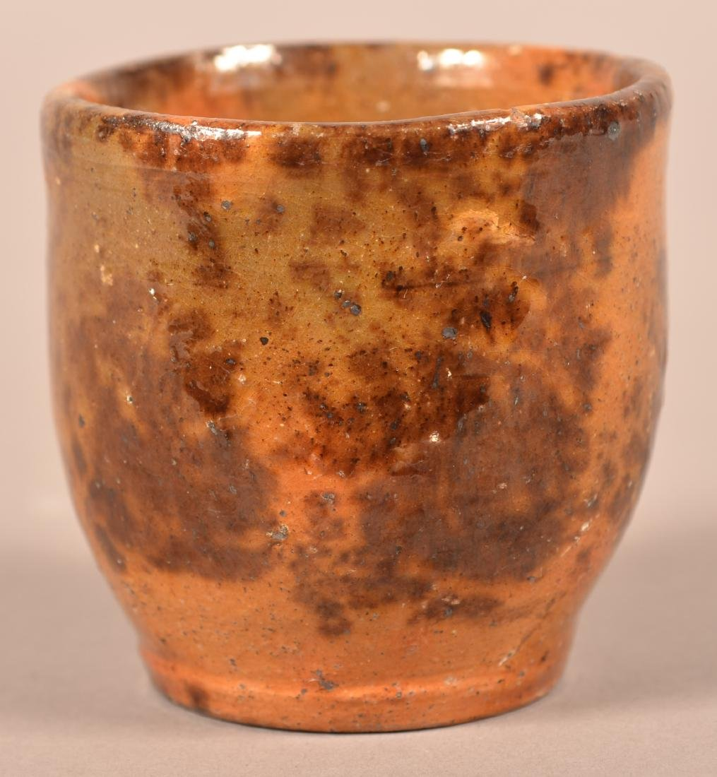 PA 19th Century Mottle Glazed Redware Cup.