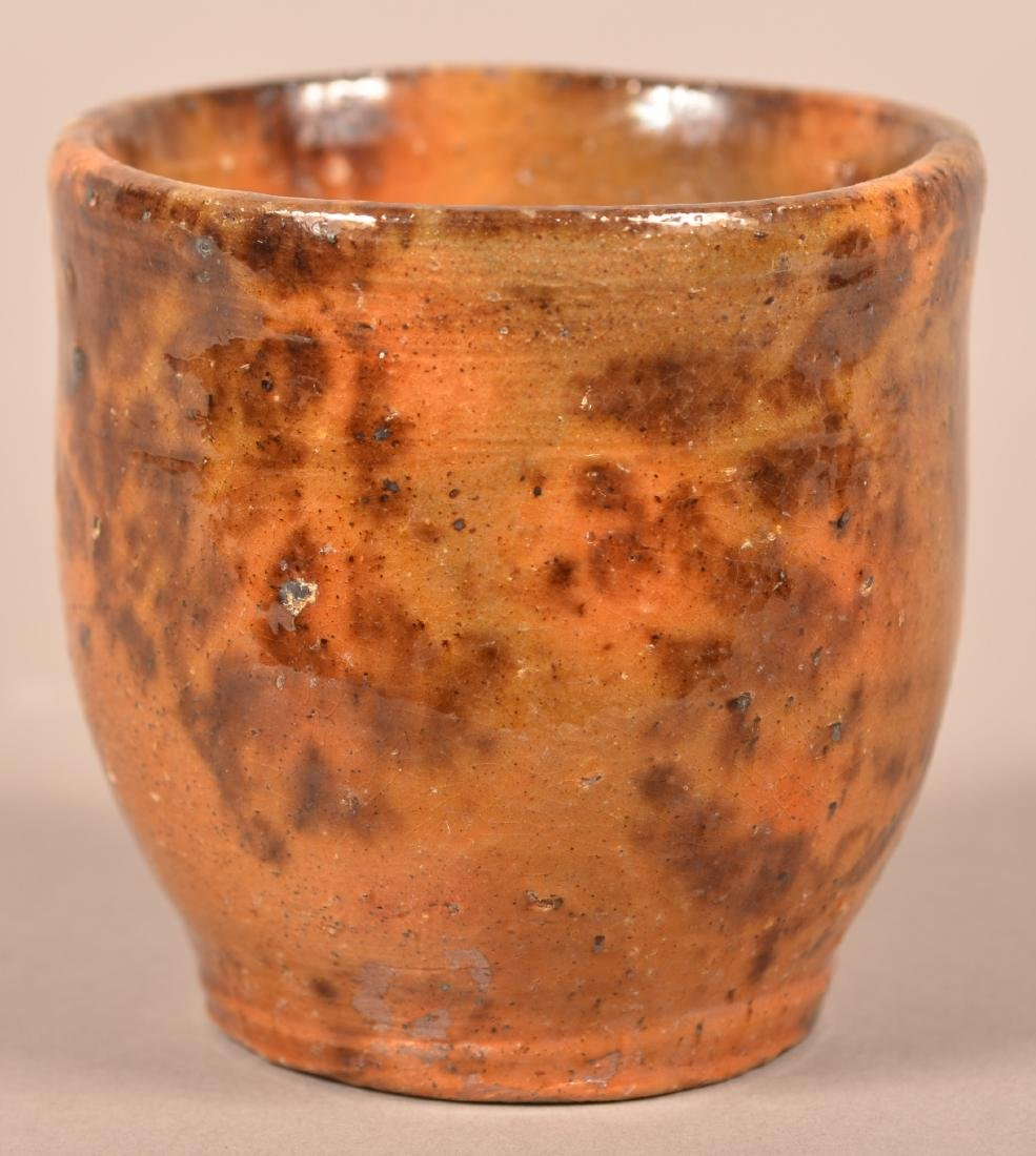 PA 19th Century Mottle Glazed Redware Cup. - 2