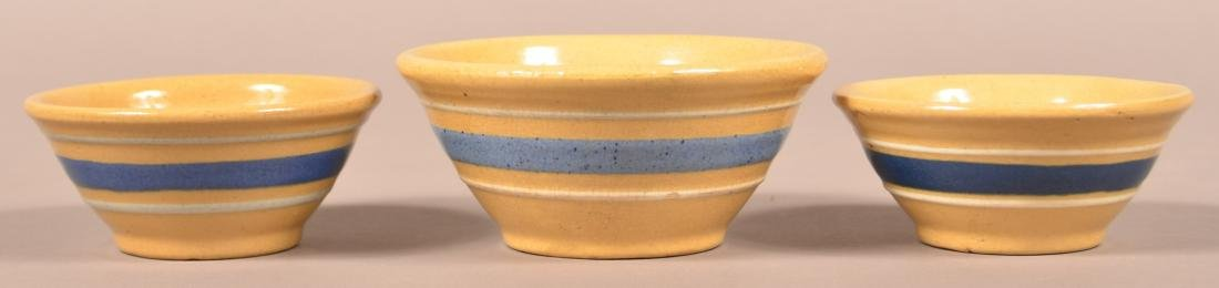 3 Small Yellowware Bowls, Blue & White Bands.