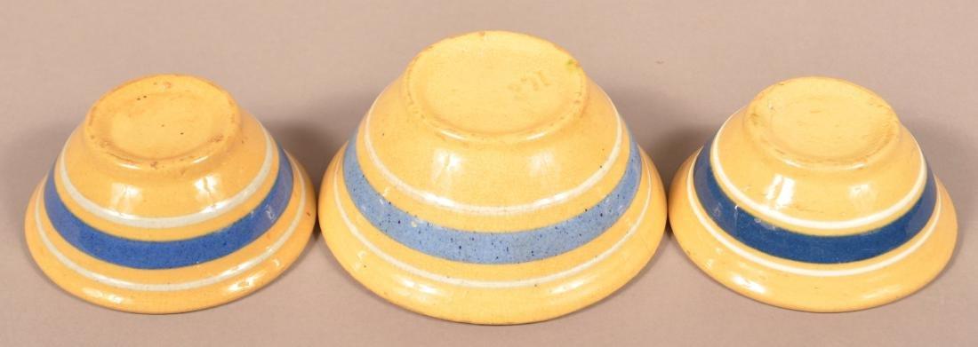3 Small Yellowware Bowls, Blue & White Bands. - 2