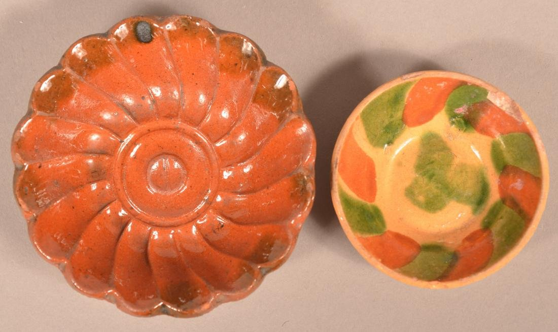 Glazed Redware Mold and Miniature Bowl.