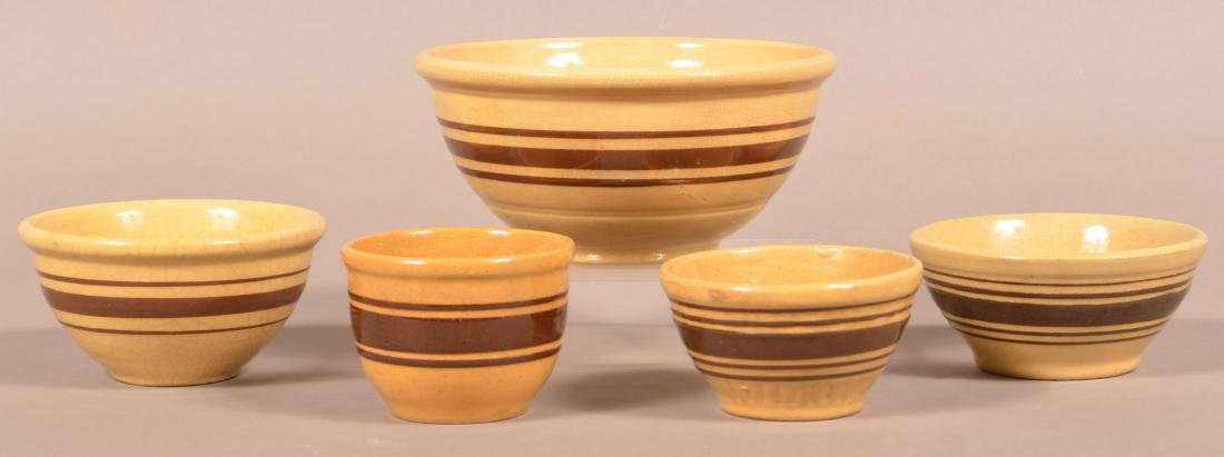 Five Pieces of Brown Band Yellowware.
