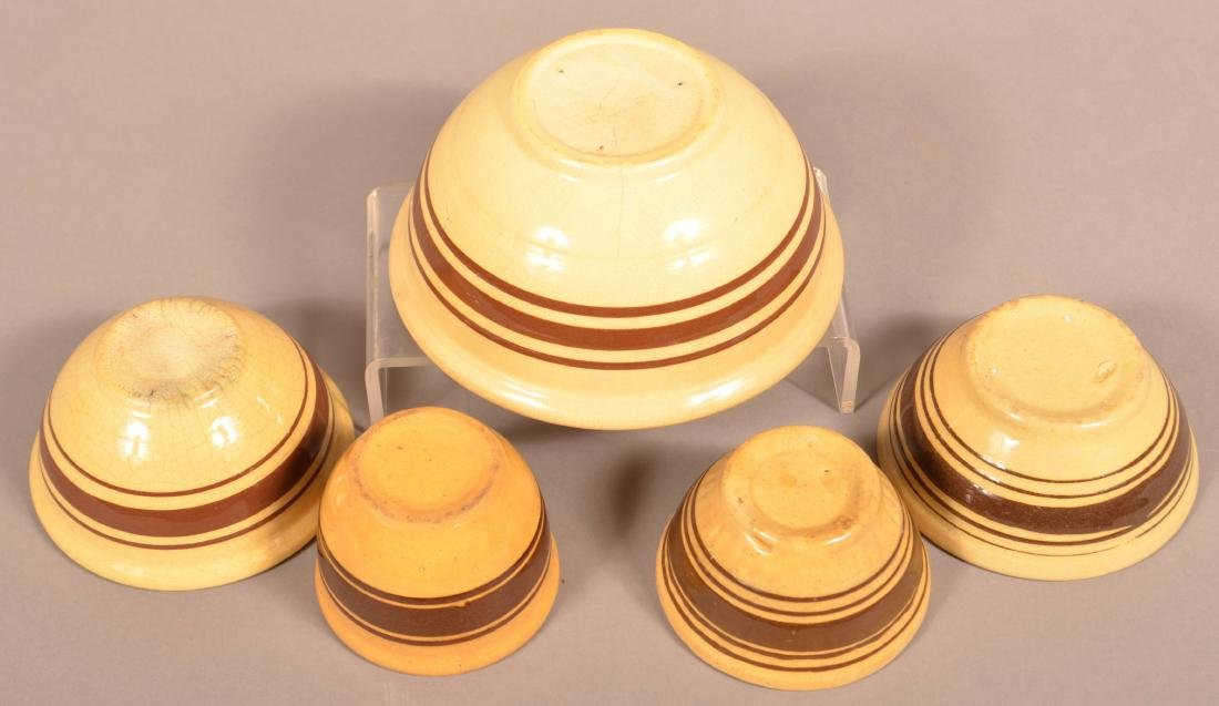 Five Pieces of Brown Band Yellowware. - 2