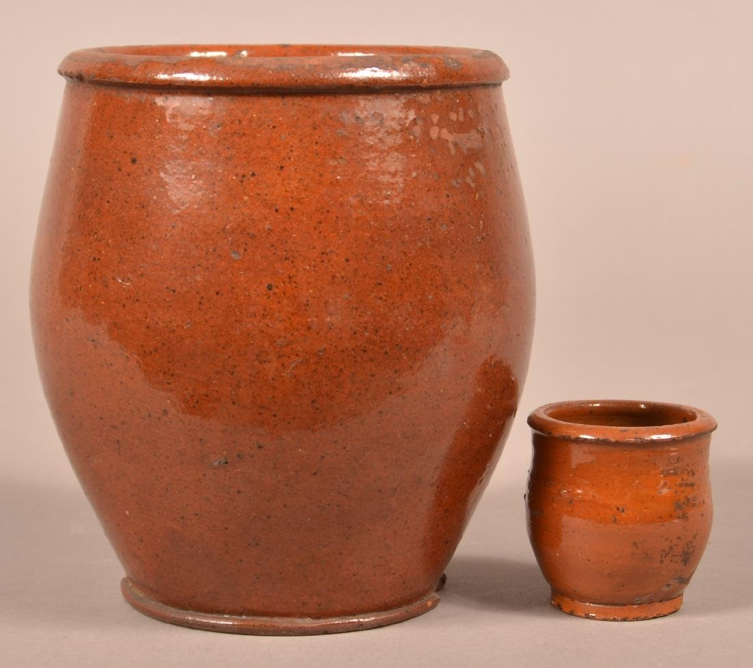 Two 19th Century Redware Jars.