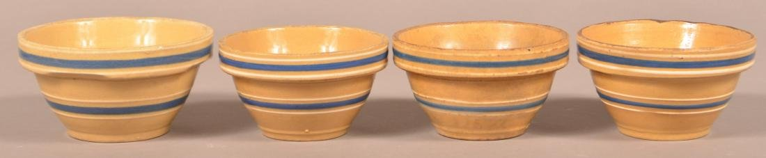 4 Small Yellowware Bowls, Blue & White Bands.