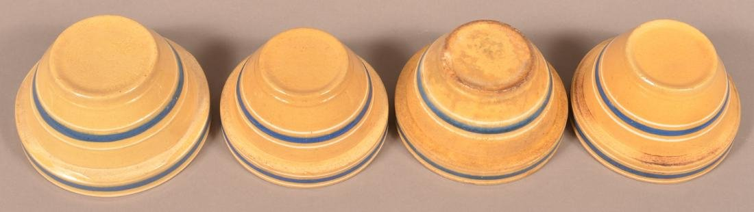 4 Small Yellowware Bowls, Blue & White Bands. - 2