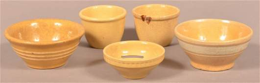 Five Pieces of AntiqueVintage Yellowware