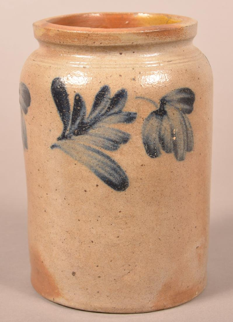 Stoneware Jar with Cobalt Blue Slip Decoration.