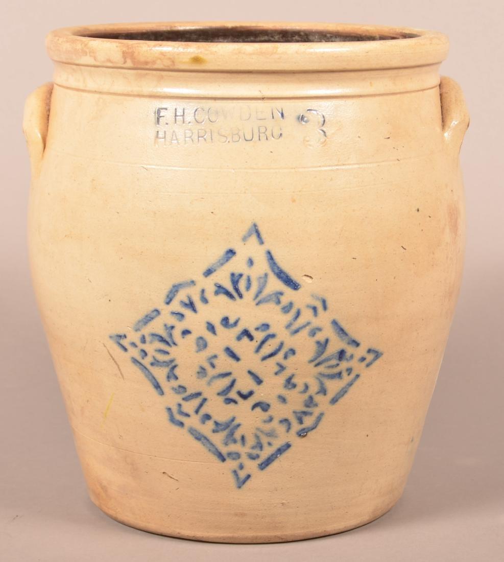 F.H. Cowden Three Gallon Stoneware Crock.