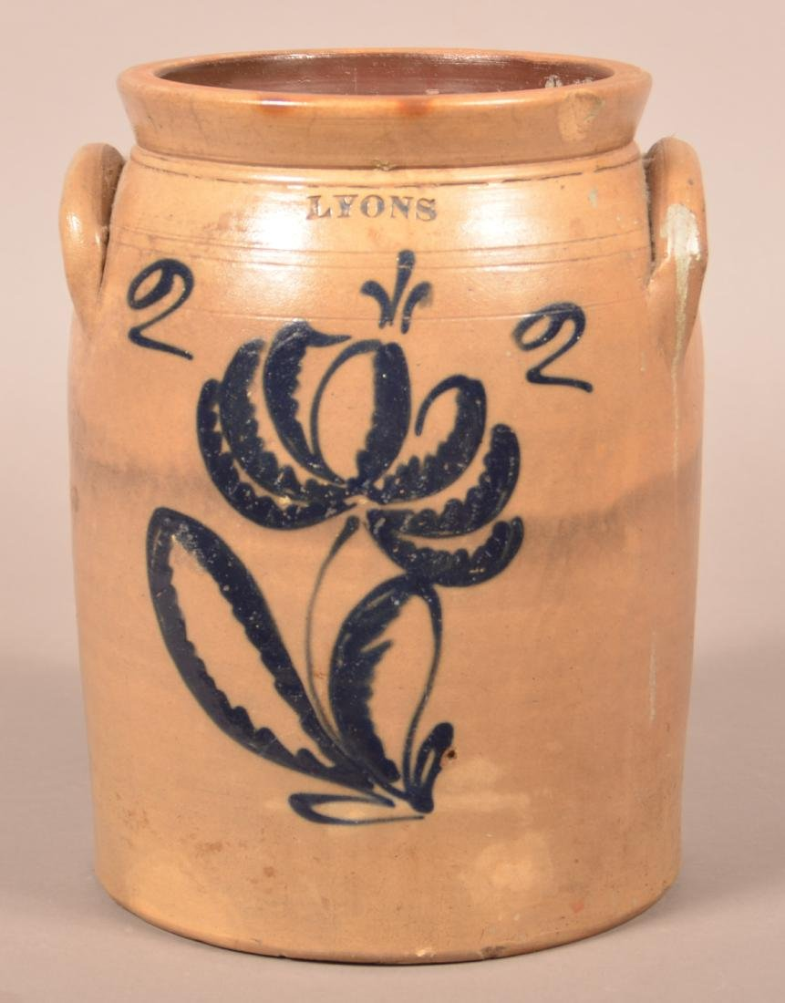 Lyons Two Gallon Floral Decorated Stoneware Jar.
