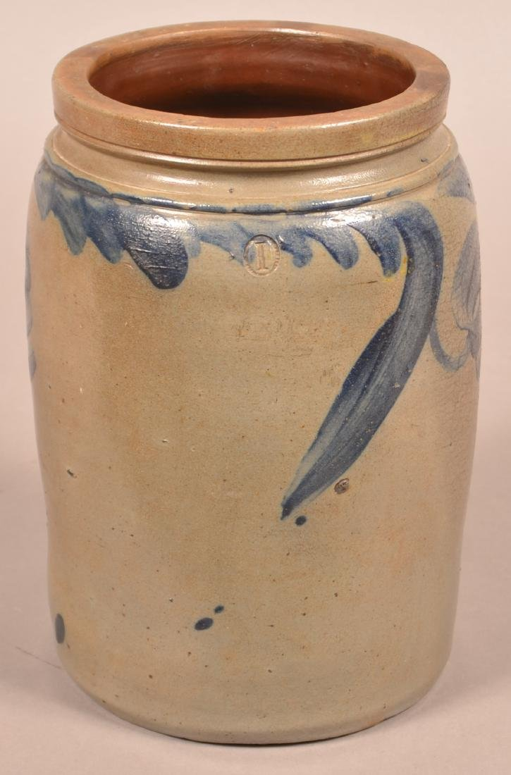 One Gallon Stoneware Jar Attributed to Remmey. - 2