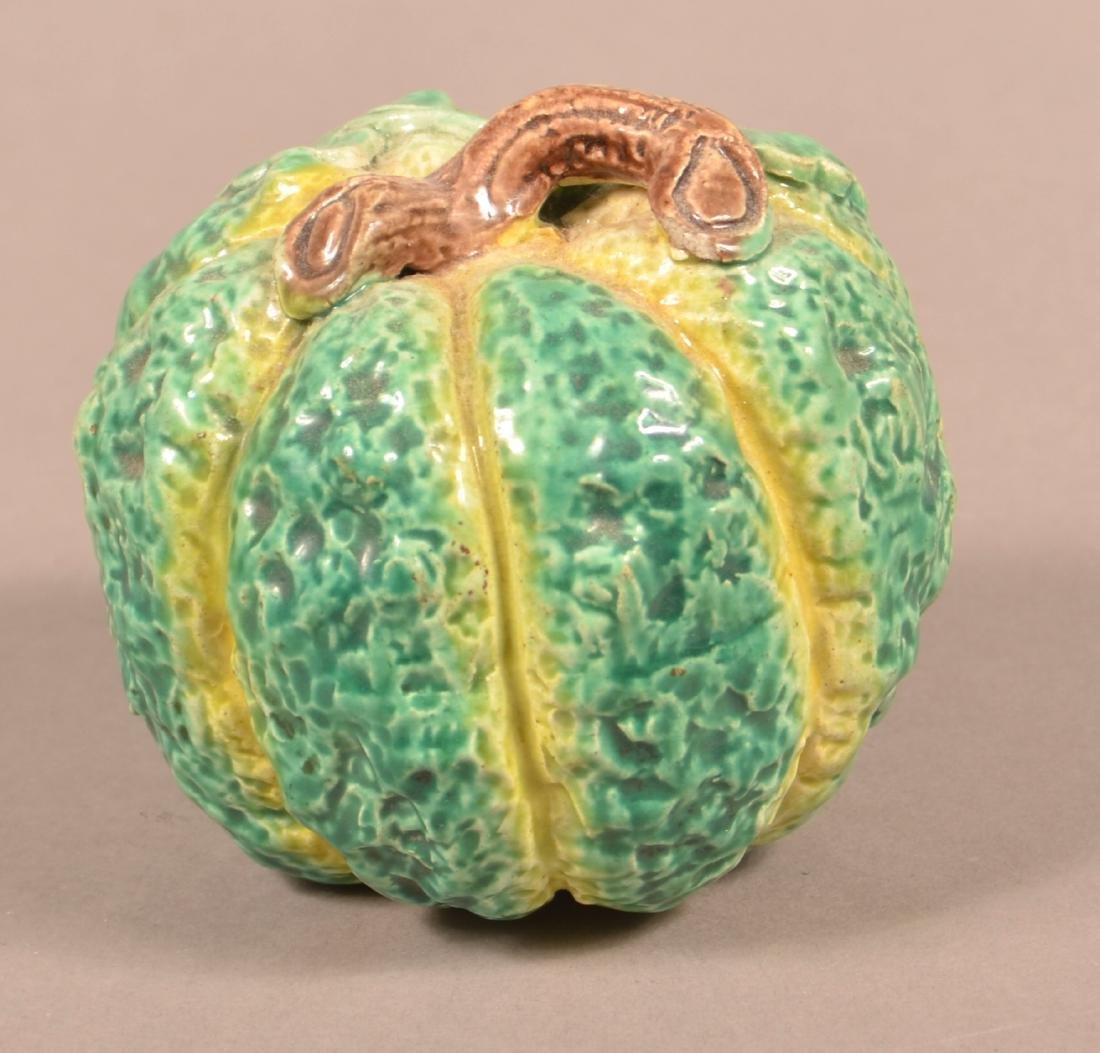 Rare Majolica Pumpkin Form Still Bank.