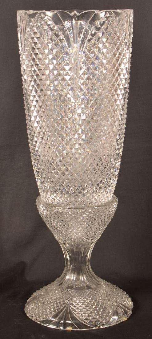 Large Two Part Design Guild Crystal Vase.