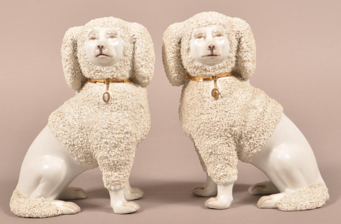 Pair of Staffordshire 19th Cent. Porcelain Poodles.