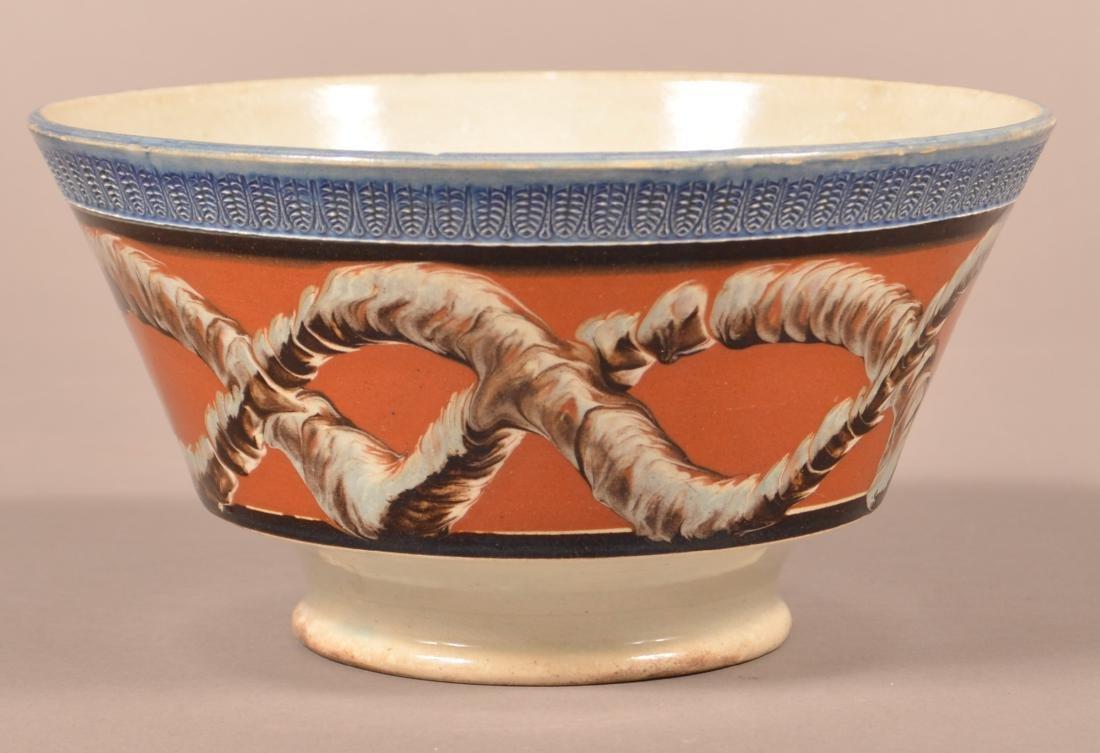 Mocha Earthworm Pattern China Bowl.