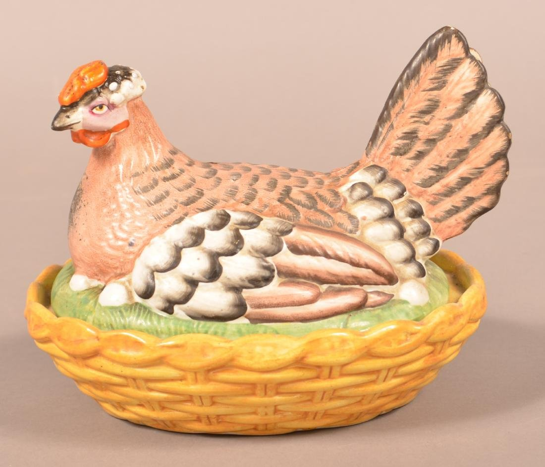 19th Century Staffordshire China Hen on Nest.